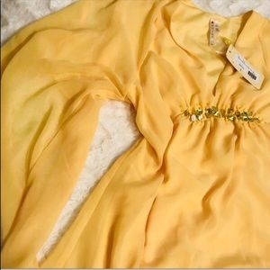 Golden Yellow Cold Shoulder Shirt Women's Size SM